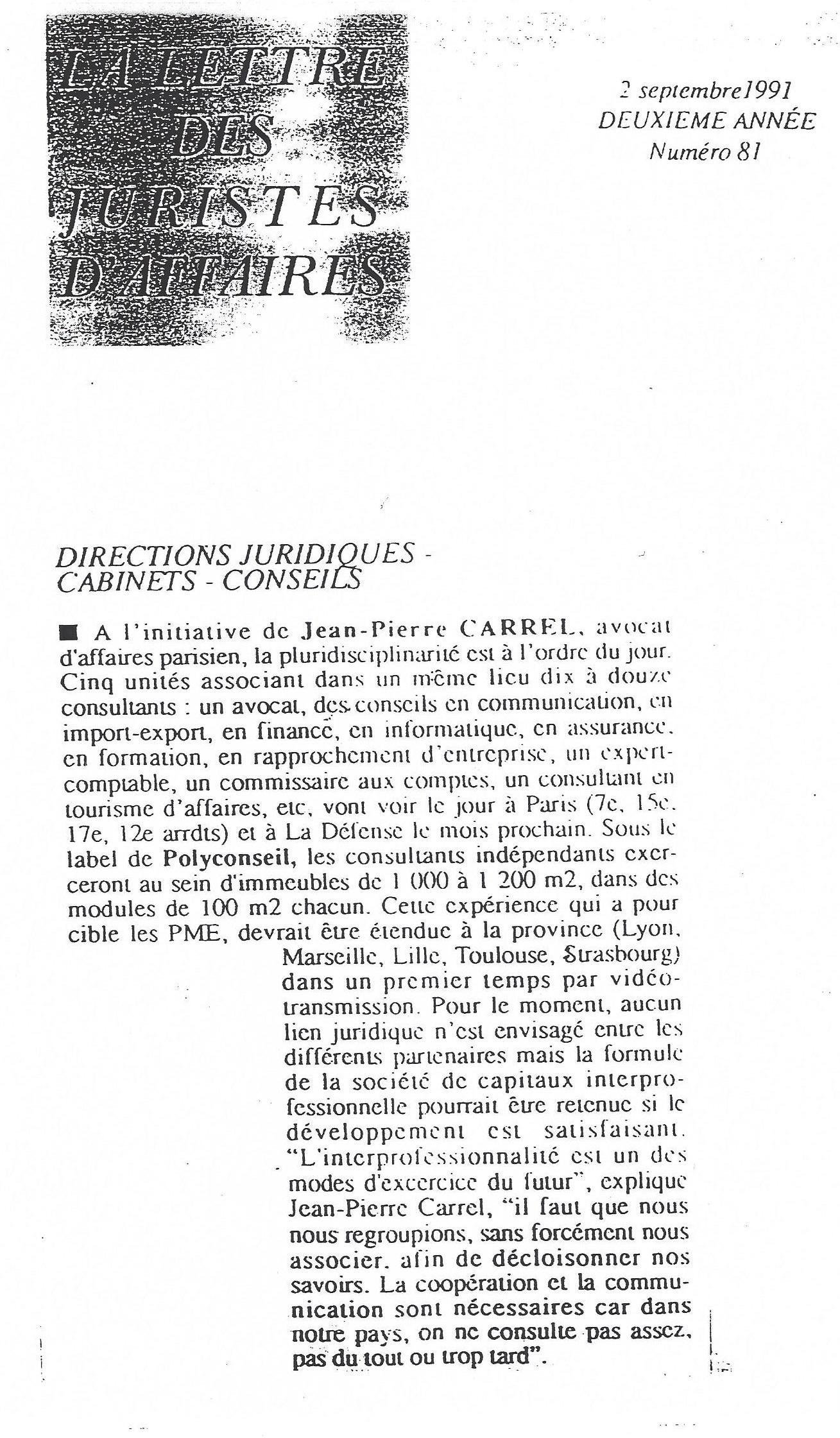 La lettre des Juristes d'Affaires